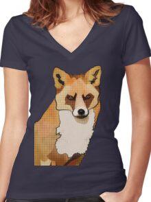 Pop Art Staring Fox (Foxy McFox-Face) Women's Fitted V-Neck T-Shirt