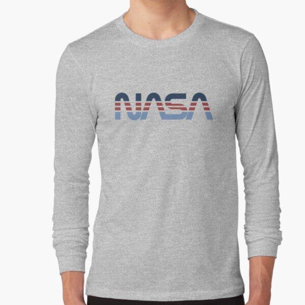 NASA Worm Retro Bleu-Rouge-Bleu T-shirt manches longues