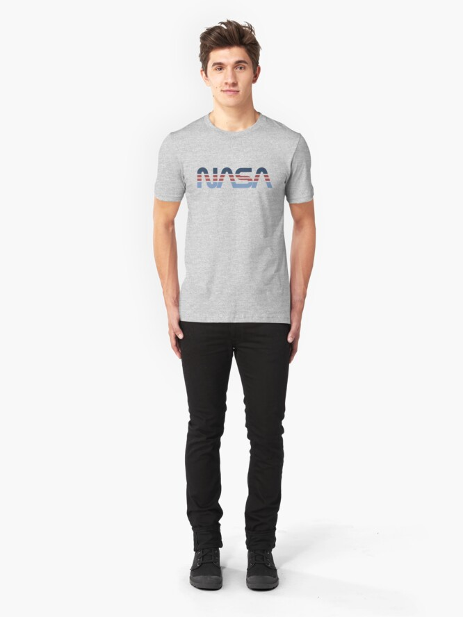 Alternate view of NASA Worm Retro Blue-Red-Blue Slim Fit T-Shirt