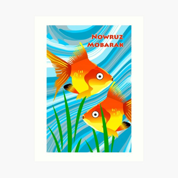 Nowruz Mobarak, Persian New Year, Goldfish Art Print