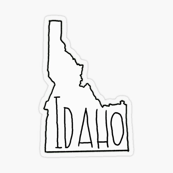 Idaho - Text with White Outline Transparent Sticker
