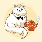 Big white fluffy cat with a teapot by maarika