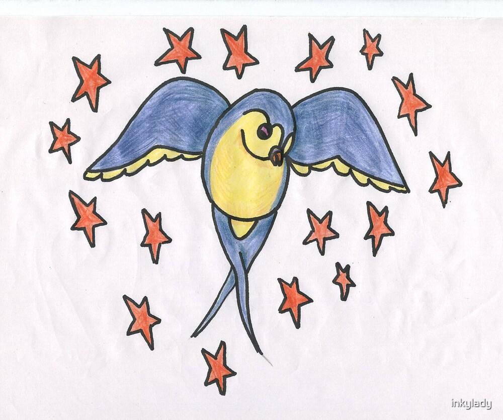 swallow & red stars by inkylady