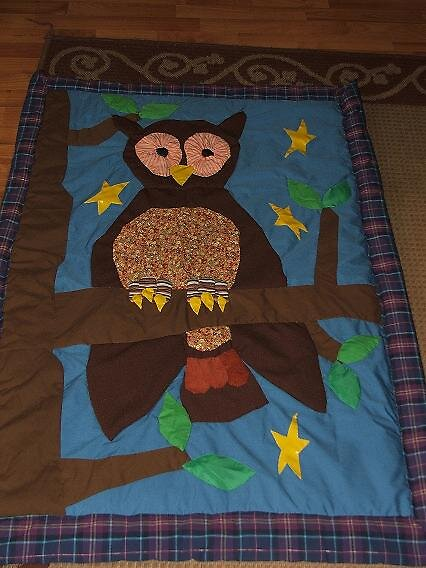 owl in tree quilt by inkylady