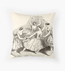 1845 Wood Engraving Print of Female Ballet Dancers Throw Pillow