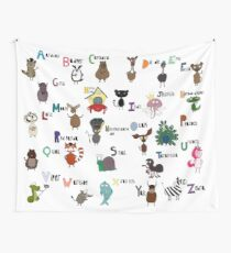 Unique Animal Alphabet Wall Tapestry Wall Tapestry