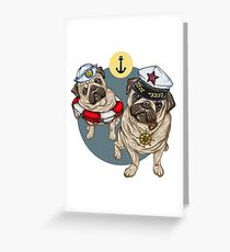 Nautic Pugs Greeting Card
