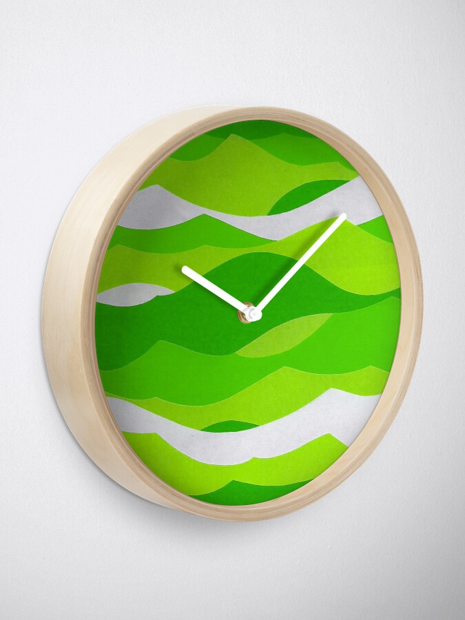 Alternate view of Waves - Lime green Clock