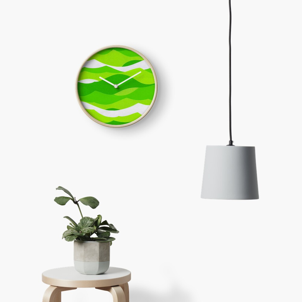 Waves - Lime green Clock