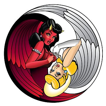 Naughty or Nice? Angel or Devil pin up style yin and yang graphic by nealw6971