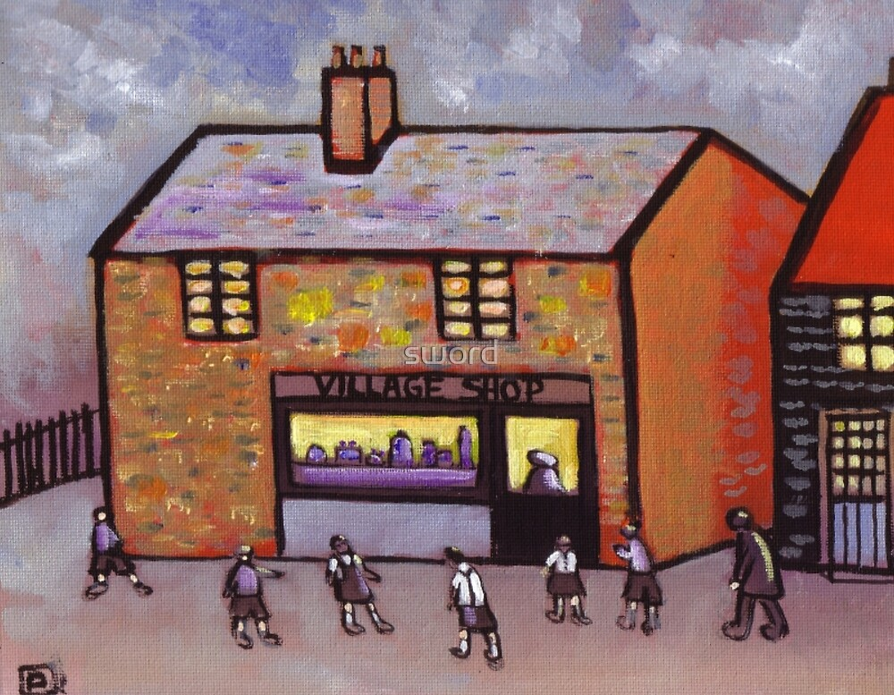 The village shop (from my original acrylic painting) by sword