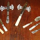 Silver Tableware and cut glass knife rests by Hedgie's Nature & Gardening Journal