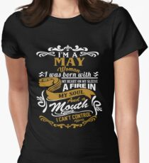 I am a May woman I was born with my heart on my sleeve Womens Fitted T-Shirt