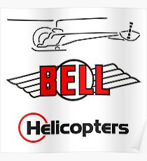 Retro Bell 47 Helicopter Poster