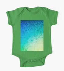 Blurred Green Blue Background With Flowers Kids Clothes