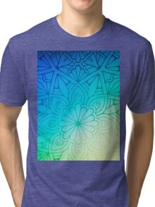 Blurred Green Blue Background With Flowers Tri-blend T-Shirt