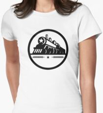 Steam Train Locomotive Star Circle Women's Fitted T-Shirt