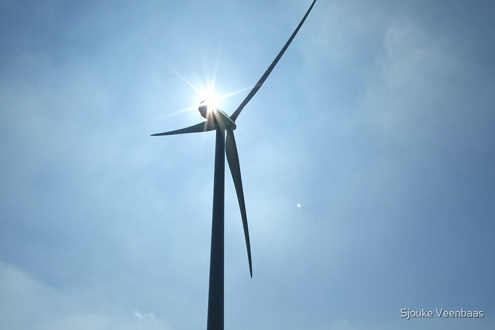 Sun behind windmill by Sjouke Veenbaas
