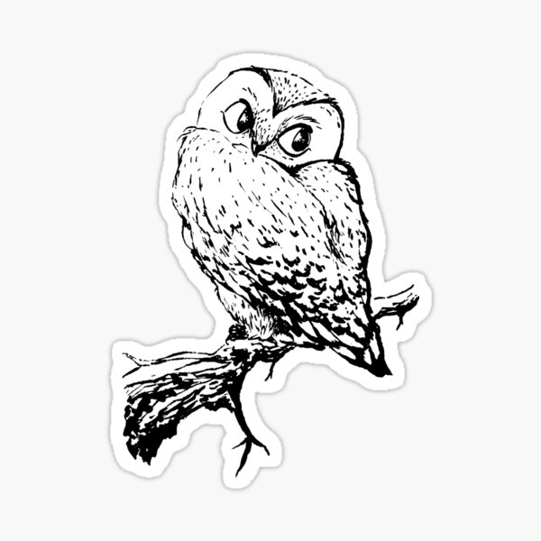 Black Ink Owl Sticker