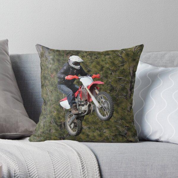 Motorcycle Jumping! Throw Pillow