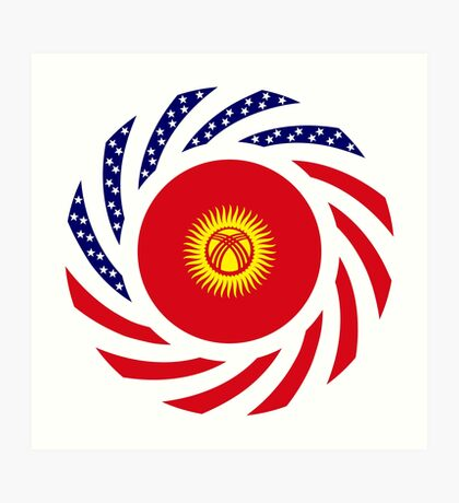 Kyrgyzstan American Multinational Patriot Flag Series Art Print