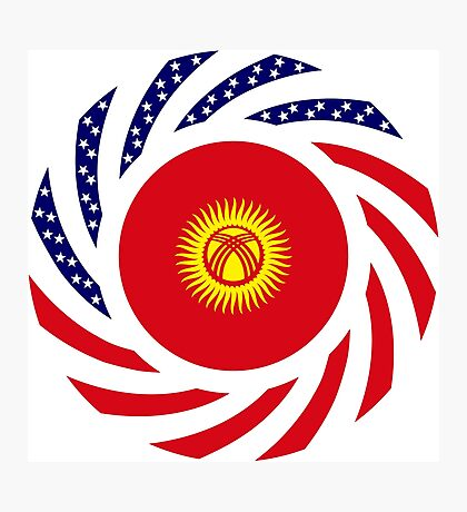 Kyrgyzstan American Multinational Patriot Flag Series Photographic Print
