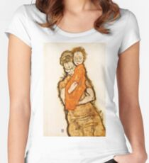 Egon Schiele - Mother And Child (1914) Women's Fitted Scoop T-Shirt