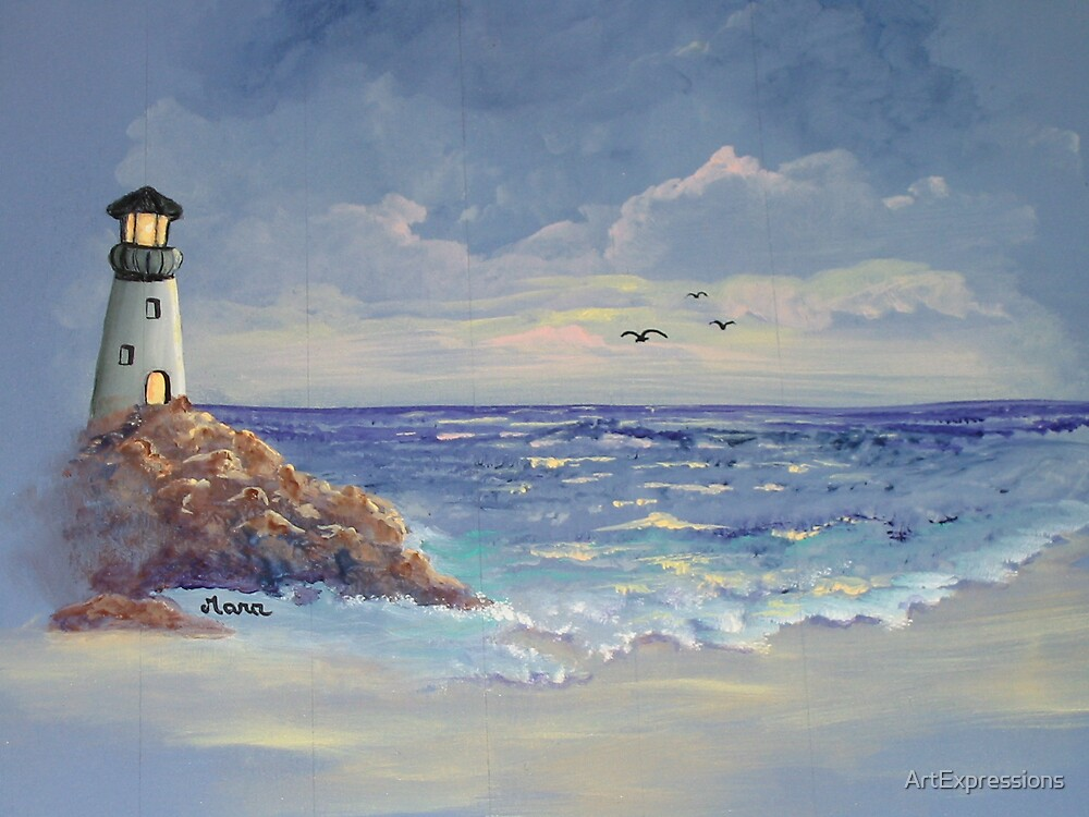 Lighthouse sunset by ArtExpressions