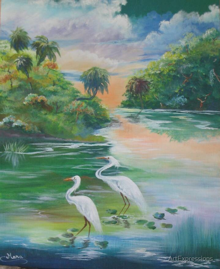 Egrets at Sunset by ArtExpressions