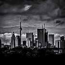 Toronto Skyline From The Pape Ave Bridge No 2 by Brian Carson
