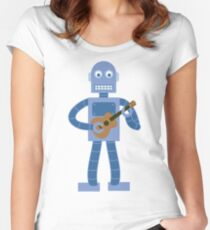 Ukulele Robot Women's Fitted Scoop T-Shirt