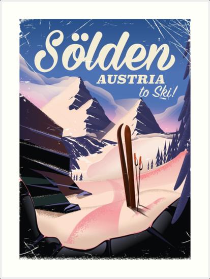 Sölden Austria vintage ski poster by vectorwebstore