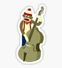 Sock Monkey Bass Player Sticker