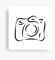 black outline of camera isolated on white background Canvas Print