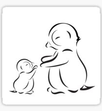 Outline drawing of penguin family mom and baby Sticker