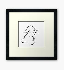 Black outline drawing of hare isolated  Framed Print