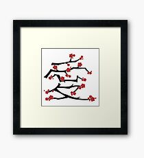 Chinese 'Ai' (Love) Calligraphy With Red Cherry Blossoms On Black Branches | Japanese Sakura Kanji Framed Print
