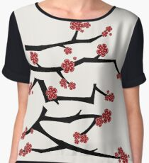 Chinese 'Ai' (Love) Calligraphy With Red Cherry Blossoms On Black Branches | Japanese Sakura Kanji Chiffon Top