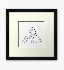 black outline cute family  rabbits mother and baby  Framed Print