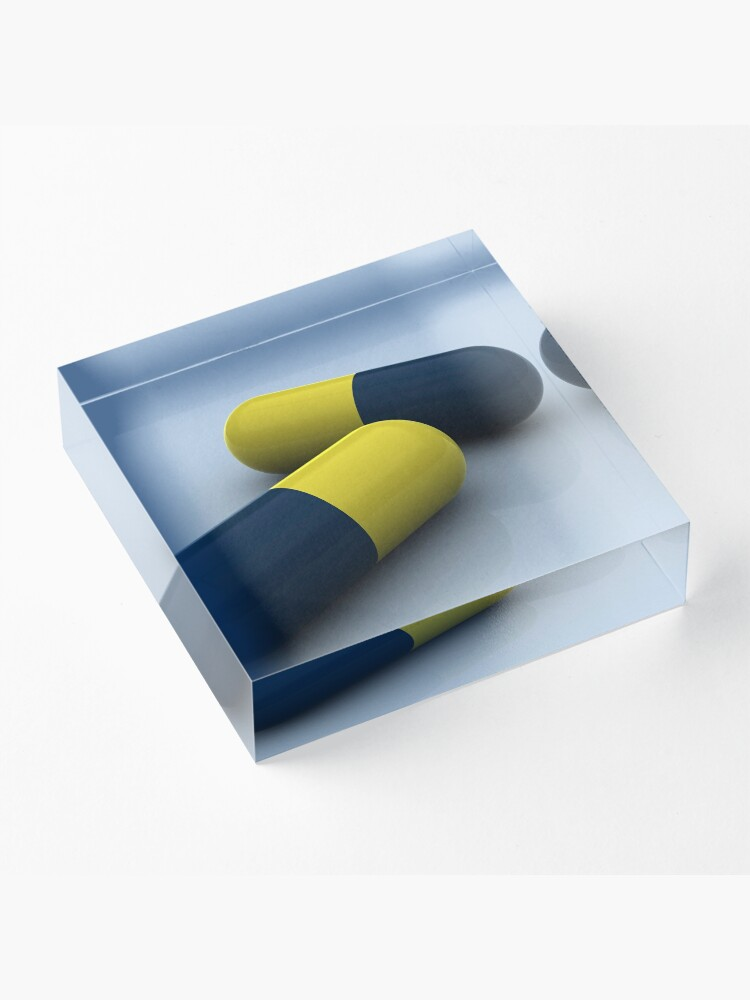 Alternate view of Blue and yellow medication capsules. Acrylic Block