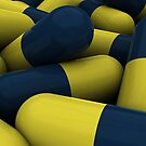Pile of blue and yellow medication capsules. by StocktrekImages