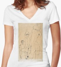 Egon Schiele - Schiele With Nude Model Before The Mirror, 1910 Women's Fitted V-Neck T-Shirt