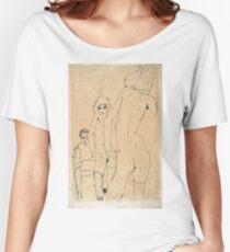 Egon Schiele - Schiele With Nude Model Before The Mirror, 1910 Women's Relaxed Fit T-Shirt