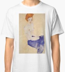 Egon Schiele - Seated Girl With Bare Torso And Light Blue Skirt 1911 Classic T-Shirt