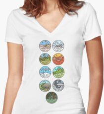 Star Wars Planets Women's Fitted V-Neck T-Shirt