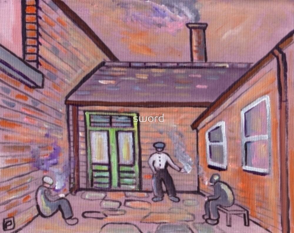 Smokers corner (from my original acrylic painting) by sword