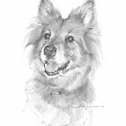 longish-red-hair dog drawing by Mike Theuer