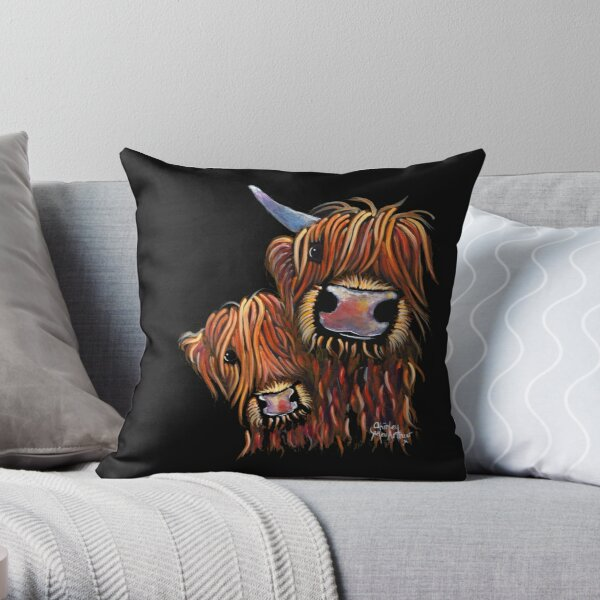Scottish Highland Cows ' Daddy's Girl' by Shirley MacArthur Throw Pillow