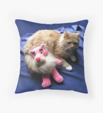 Cat with Toy Throw Pillow