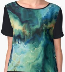 Abstract Blue Oil Painting Fractal Chiffon Top